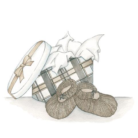 Mes petits chaussons Reproduction sur bois